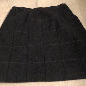 Windowpane wool print skirt